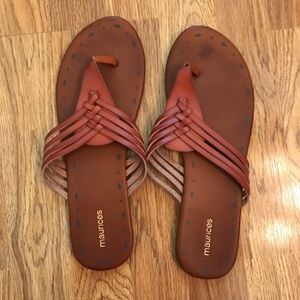 Maurice's Brown Faux Leather Sandals--Size 11